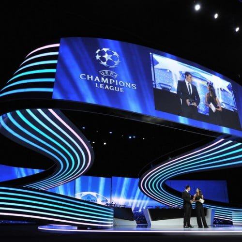 Presenters Pedro Pinto and Melanie Winiger during the UEFA Champions League draw